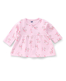 Simply Full Sleeves Front Button Floral Printed Frock - Pink