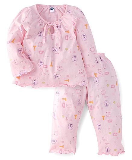 Teddy Full Sleeves Night Suit With Multi Print - Pink