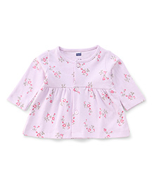 Simply Full Sleeves Front Button Floral Printed Frock - Light Purple