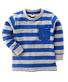 Teddy Full Sleeves Striped Tee With Front Pocket - Blue & Grey