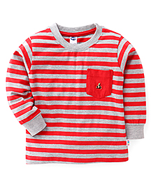 Teddy Full Sleeves Striped Tee With Front Pocket - Red & Grey