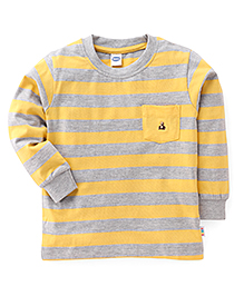 Teddy Full Sleeves Striped Tee With Front Pocket - Yellow & Grey