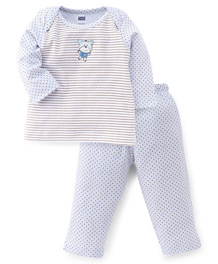 Simply Full Sleeves Striped Top And Dotted Leggings Set - Light Blue