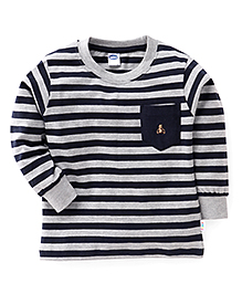 Teddy Full Sleeves Striped Tee With Front Pocket - Navy & Grey