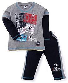 Teddy Full Sleeves Printed Night Suit - Grey