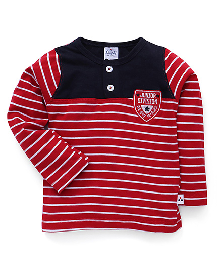 Simply Full Sleeves Stripe T-Shirt Junior Division Embroidery - Red