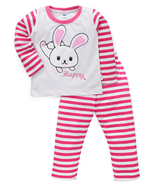 Teddy Full Sleeves Printed T-Shirt And Pant Set - White Pink