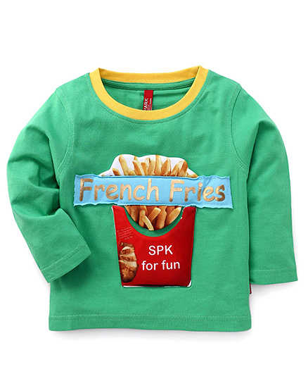Spark Full Sleeves T-Shirt French Fries Print - Green