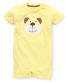 Babyhug Half Sleeves Romper Bear Face Embroidery - Yellow