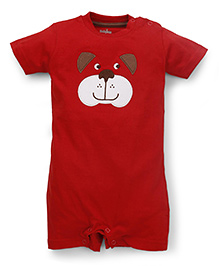 Babyhug Half Sleeves Romper Bear Face Embroidery - Red