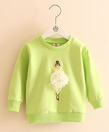 Pre Order - Mauve Collection Cute Dancing Doll Winter Sweatshirt - Green