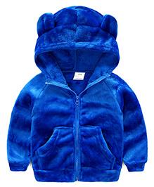 Pre Order - Mauve Collection Velvet Winter Jacket For Kids - Blue