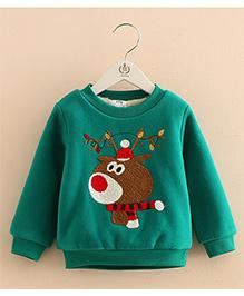 Pre Order - Mauve Collection Christmas Reindeer Print Sweatshirt - Green