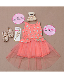 Rose Couture Butterfly Embrodered Dress Set - Peach