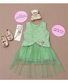 Rose Couture Butterfly Embrodered Dress Set - Green