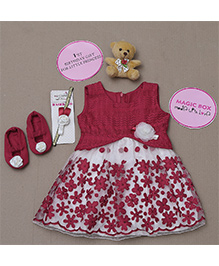 Rose Couture Magic Box Flower Embrodered Dress Set - Red