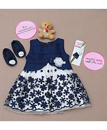 Rose Couture Magic Box Flower Embrodered Dress Set - Navy Blue