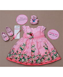 Rose Couture Floral Printed Dress Set - Pink