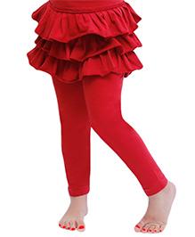 D'chica The Frilly Skirt Leggings For Girls - Maroon