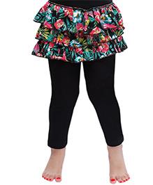 D'chica Floral Frilly Skirt Leggings For Girls - Black