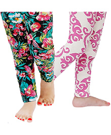 D'chica The Printed Combo Set Of 2 Leggings For Girls - Black & Pink