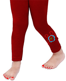 D'chica Cute Crochet Flower Applique Leggings For Girls - Maroon