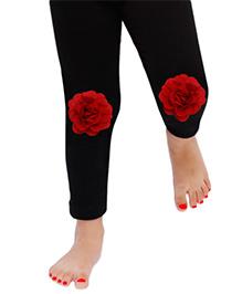 D'chica Flower Applique On Knee Leggings - Black