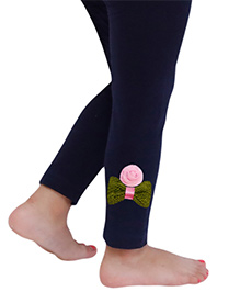 D'chica The Bow And Flower Motif Leggings For Girls - Navy Blue