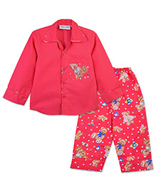 Bownbee Teddy Print Night Suit - Red