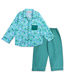 Bownbee Bunny Print Night Suit - Green