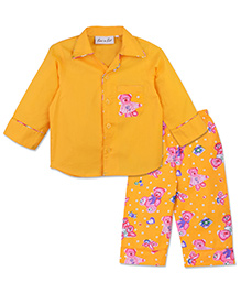 Bownbee Cute Teddy Night Suit - Yellow