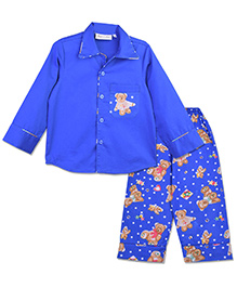 Bownbee Blue Teddy Night Suit - Blue
