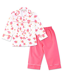 Bownbee Bird Print Night Suit - White & Pink