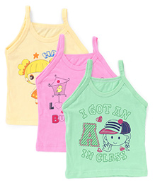 Bodycare Singlet Slips Multi Print Pack Of 3 - Yellow Pink Green (Color May Vary)