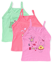 Bodycare Singlet Slips Multi Print Pack Of 3 - Green Coral Pink (Color May Vary)