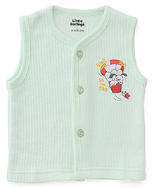 Little Darlings Sleeveless Thermal Vest With High In The Sky Print - Green
