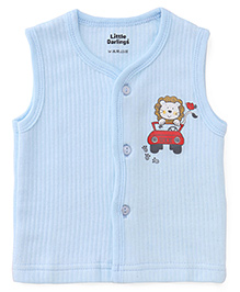 Little Darlings Sleeveless Thermal Vest With Lion Print - Sky Blue
