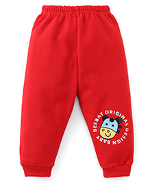 Little Darlings Fleece & Thermal Bottoms With Print - Red
