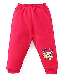 Little Darlings Fleece & Thermal Bottoms With Aeroplane Print - Dark Pink