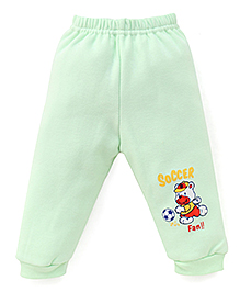 Little Darlings Fleece & Thermal Bottoms With Soccer Fan Print - Light Green