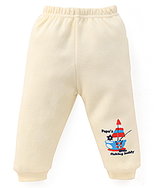 Little Darlings Fleece & Thermal Bottoms With Boat Print - Light Yellow