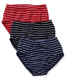 Bodycare Stripes Print Panties Pack Of 3 - Blue Red Black