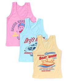 Bodycare Sleeveless Multi Printed Set Of 3 Vests - Pink Aqua Yellow (Colors May Vary)