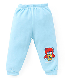 Little Darlings Fleece & Thermal Bottoms With Teddy Print - Blue