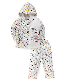 Little Darlings Winter Wear Hooded Full Sleeves T-Shirt And Bottoms Puppy Print - White