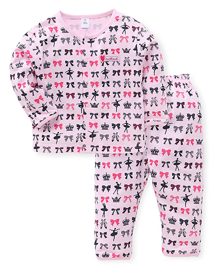 ToffyHouse Full Sleeves Nigh Suit Set - Pink