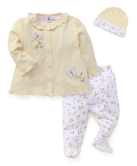 ToffyHouse Full Sleeves Top Bootie Legging And Cap Set - Yellow