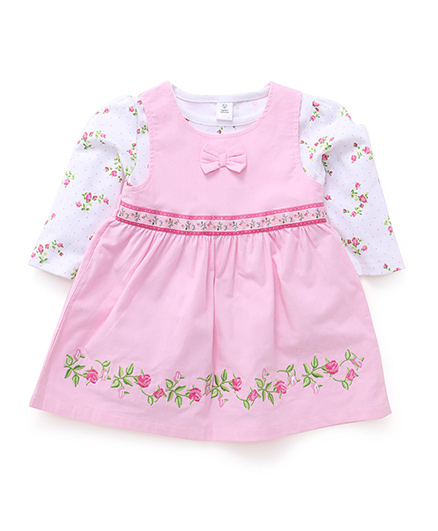 ToffyHouse Frock With Inner Tee Floral Embroidery - Pink And White
