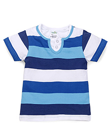 Babyhug Half Sleeves Stripe T-Shirt - Sky Blue Navy White