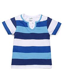 Babyhug Half Sleeves Stripe T-Shirt - Sky Blue Navy White